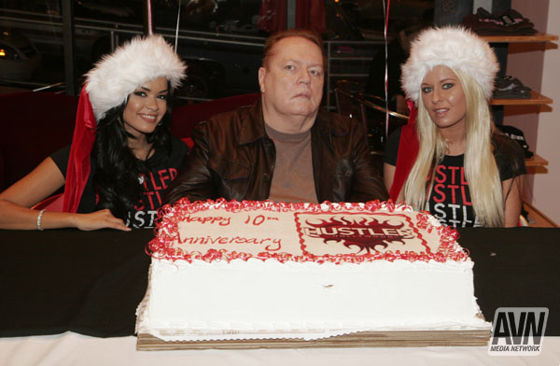 Larry Flynt with Daisey Marie and Riley Evans from a Party in December of 2008